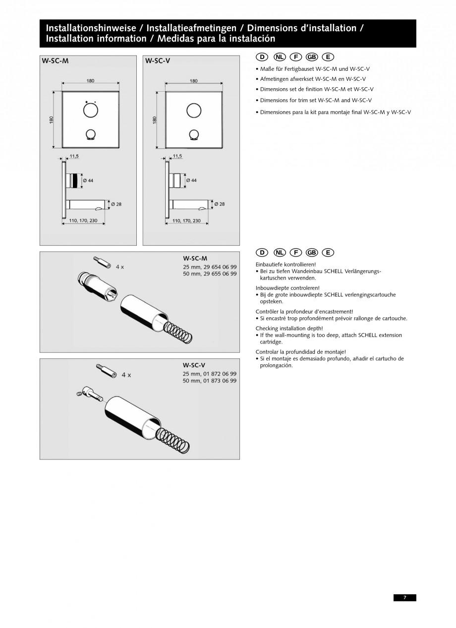 Pagina 7 - Baterii cu montare in perete pentru lavoare SCHELL LINUS W-SC-M, LINUS W-SC-V...