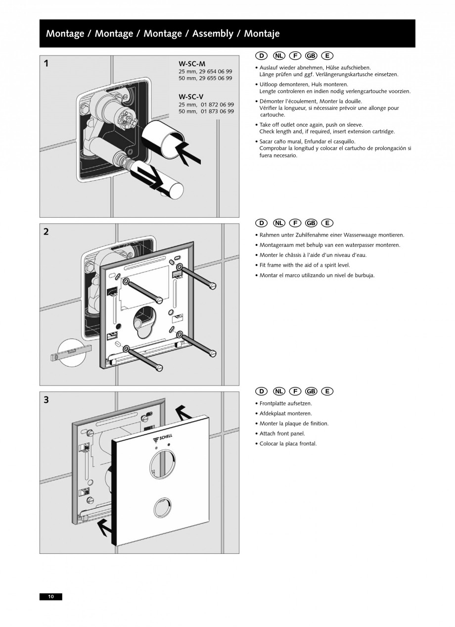 Pagina 10 - Baterii cu montare in perete pentru lavoare SCHELL LINUS W-SC-M, LINUS W-SC-V...