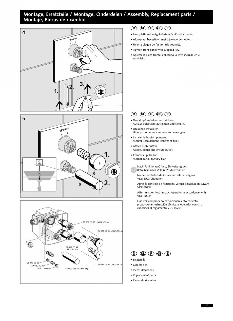 Pagina 11 - Baterii cu montare in perete pentru lavoare SCHELL LINUS W-SC-M, LINUS W-SC-V...