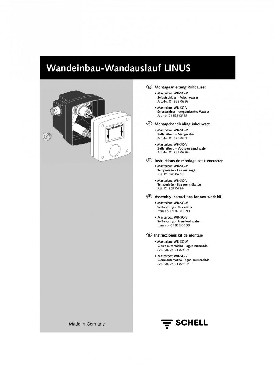 Pagina 1 - Doza pentru montare in perete SCHELL WB-SC-M, WB-SC-V Instructiuni montaj, utilizare...