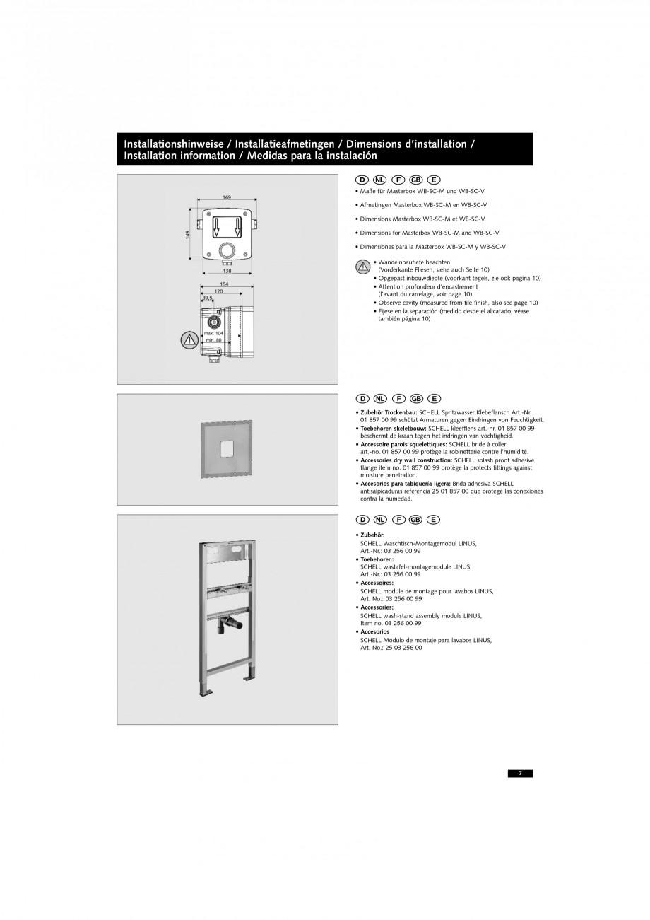 Pagina 7 - Doza pentru montare in perete SCHELL WB-SC-M, WB-SC-V Instructiuni montaj, utilizare...