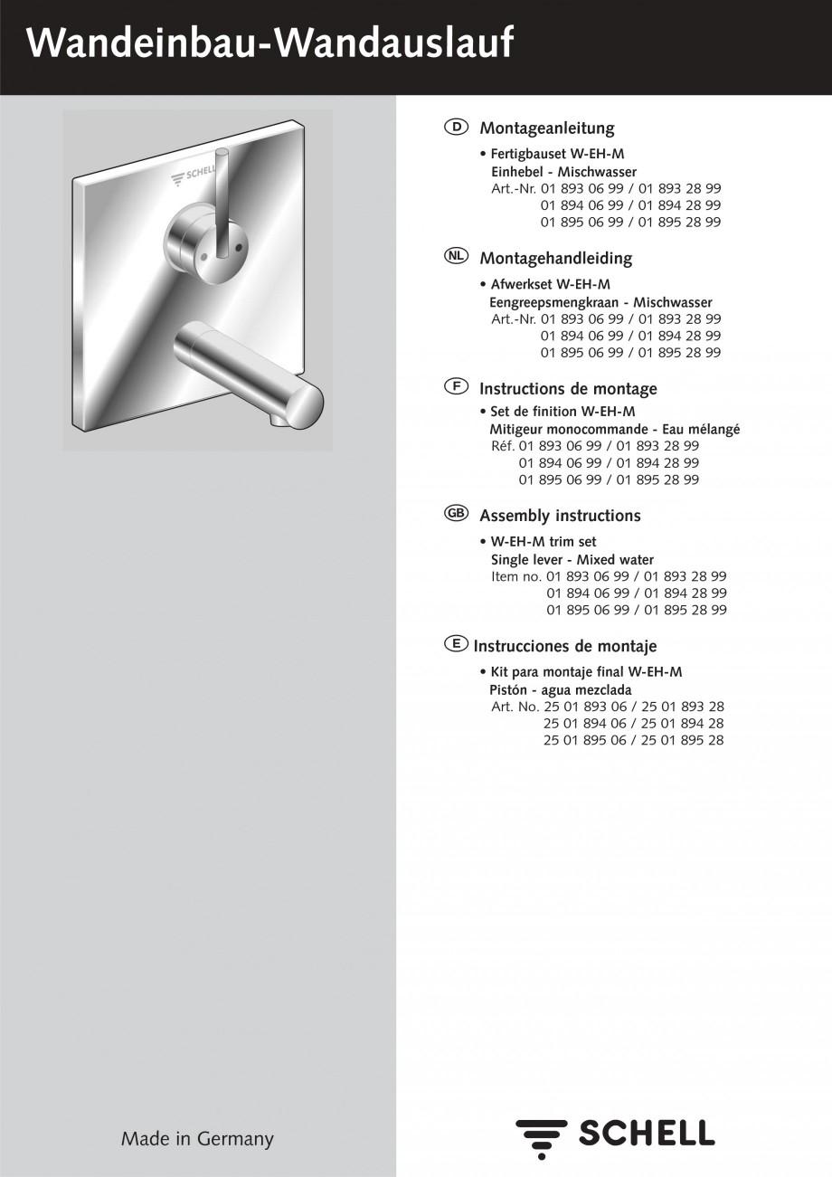 Pagina 1 - Baterii cu montare in perete pentru lavoare SCHELL Instructiuni montaj, utilizare Romana ...