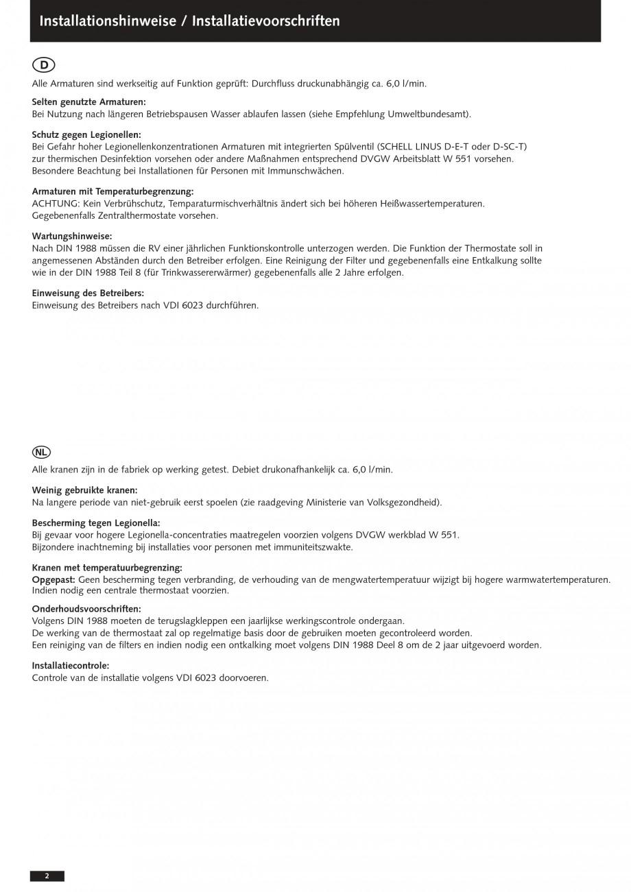 Pagina 2 - Baterii cu montare in perete pentru lavoare SCHELL Instructiuni montaj, utilizare Romana ...