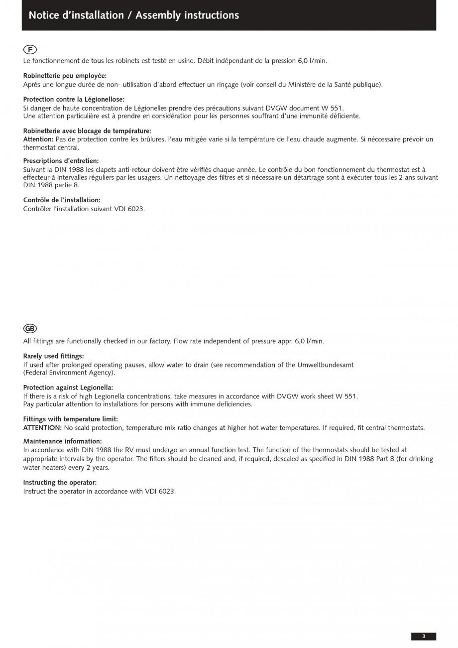 Pagina 3 - Baterii cu montare in perete pentru lavoare SCHELL Instructiuni montaj, utilizare Romana ...