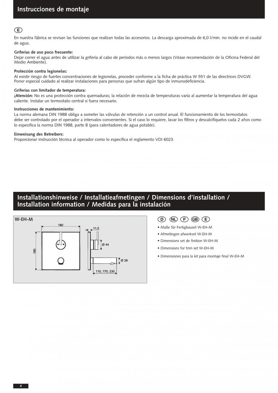 Pagina 4 - Baterii cu montare in perete pentru lavoare SCHELL Instructiuni montaj, utilizare Romana ...