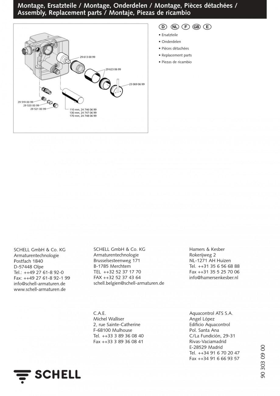 Pagina 8 - Baterii cu montare in perete pentru lavoare SCHELL Instructiuni montaj, utilizare Romana ...