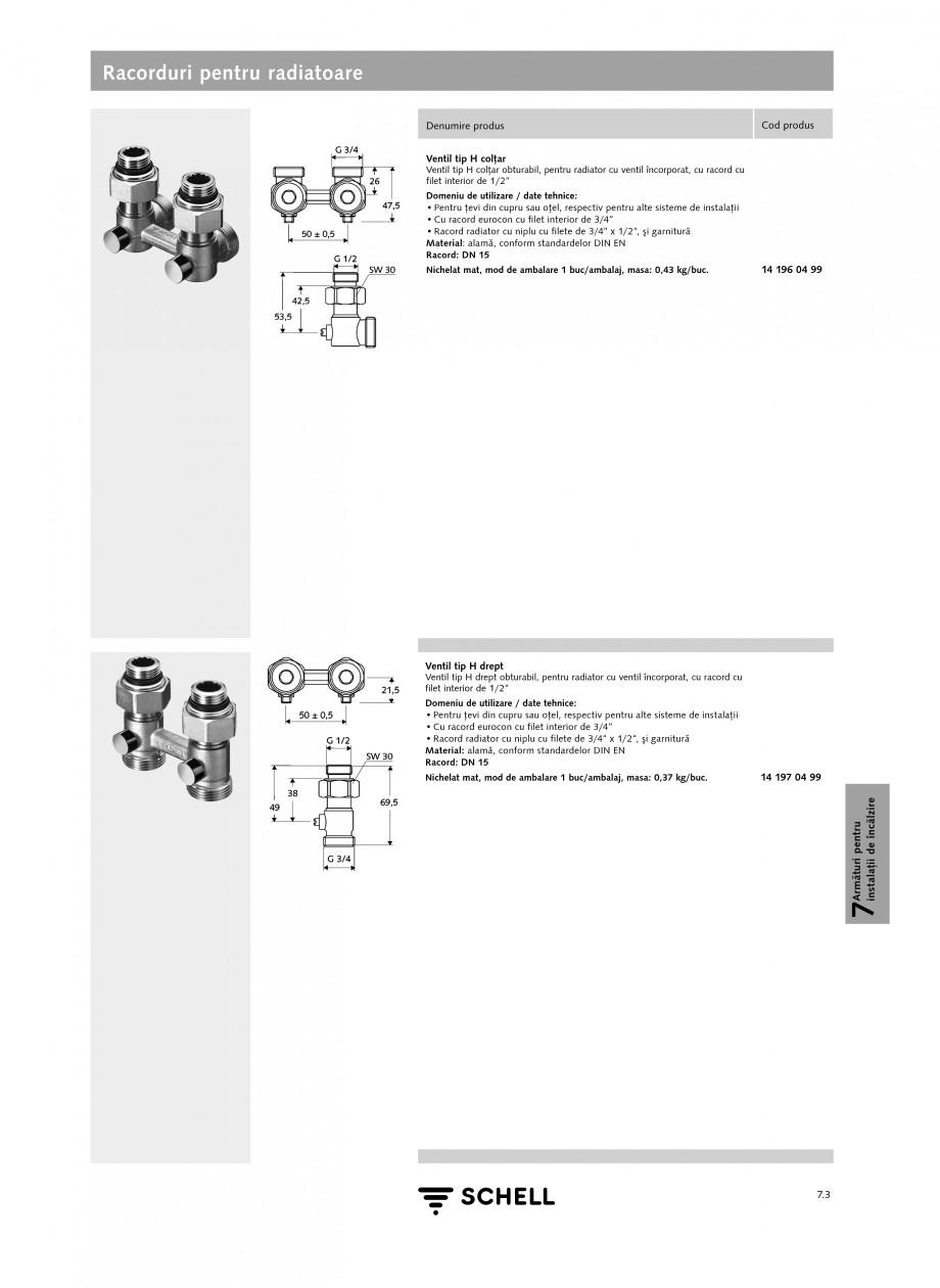 Pagina 1 - Caracteristici tehnice SCHELL Racorduri pentru radiatoare Fisa tehnica Romana Racorduri...