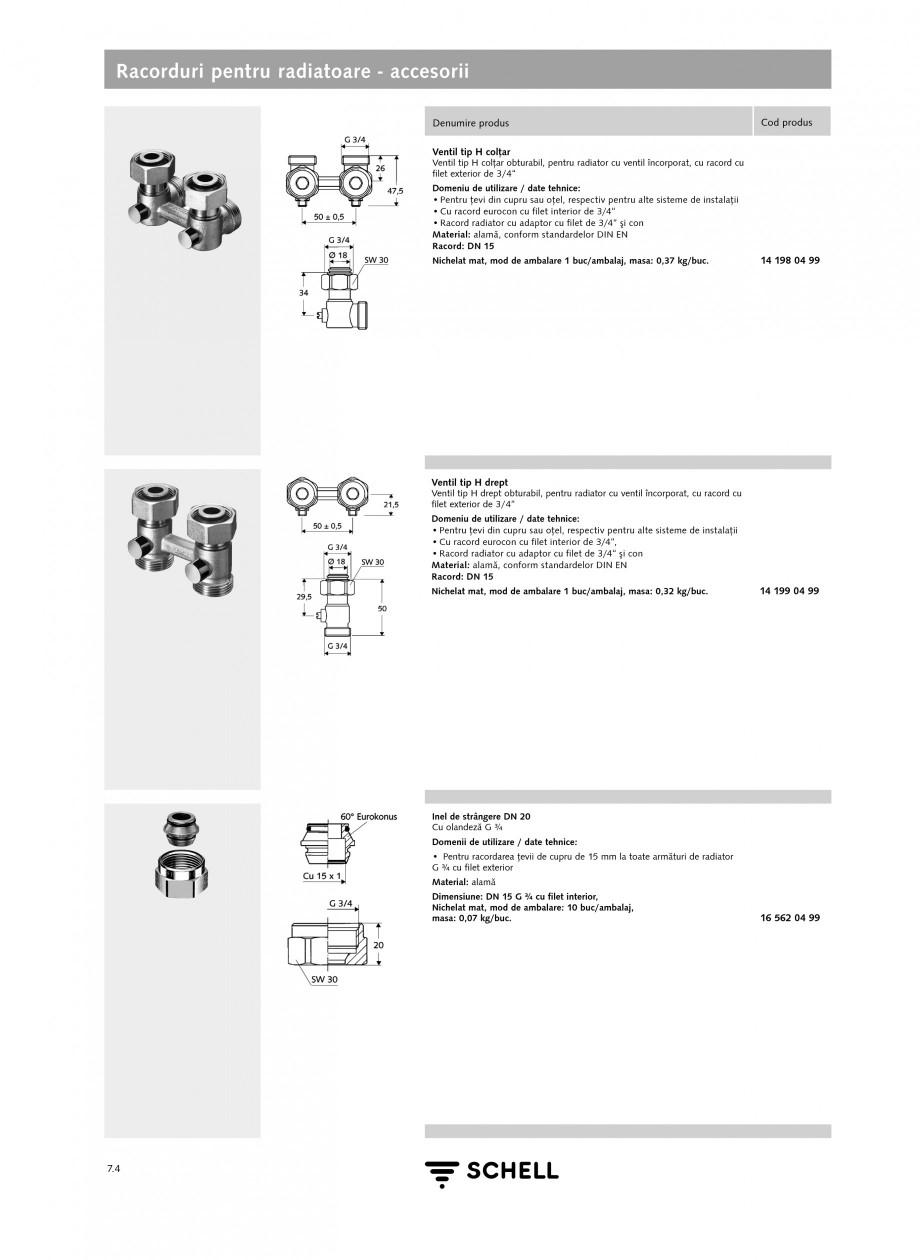 Pagina 1 - Caracteristici tehnice SCHELL Racorduri pentru radiatoare - accesorii Fisa tehnica Romana...