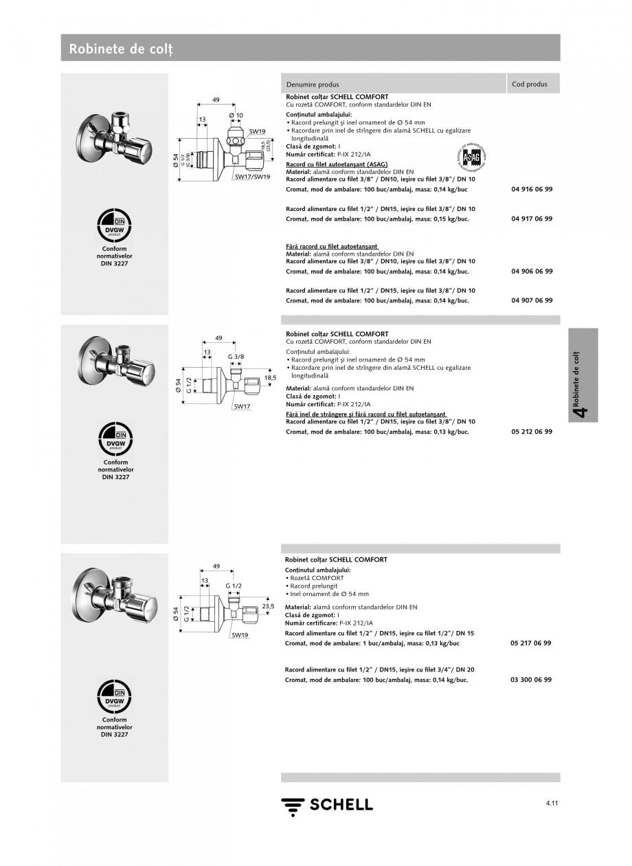 Pagina 1 - Caracteristici tehnice SCHELL Robinete de colt Fisa tehnica Romana Robinete de colţ...