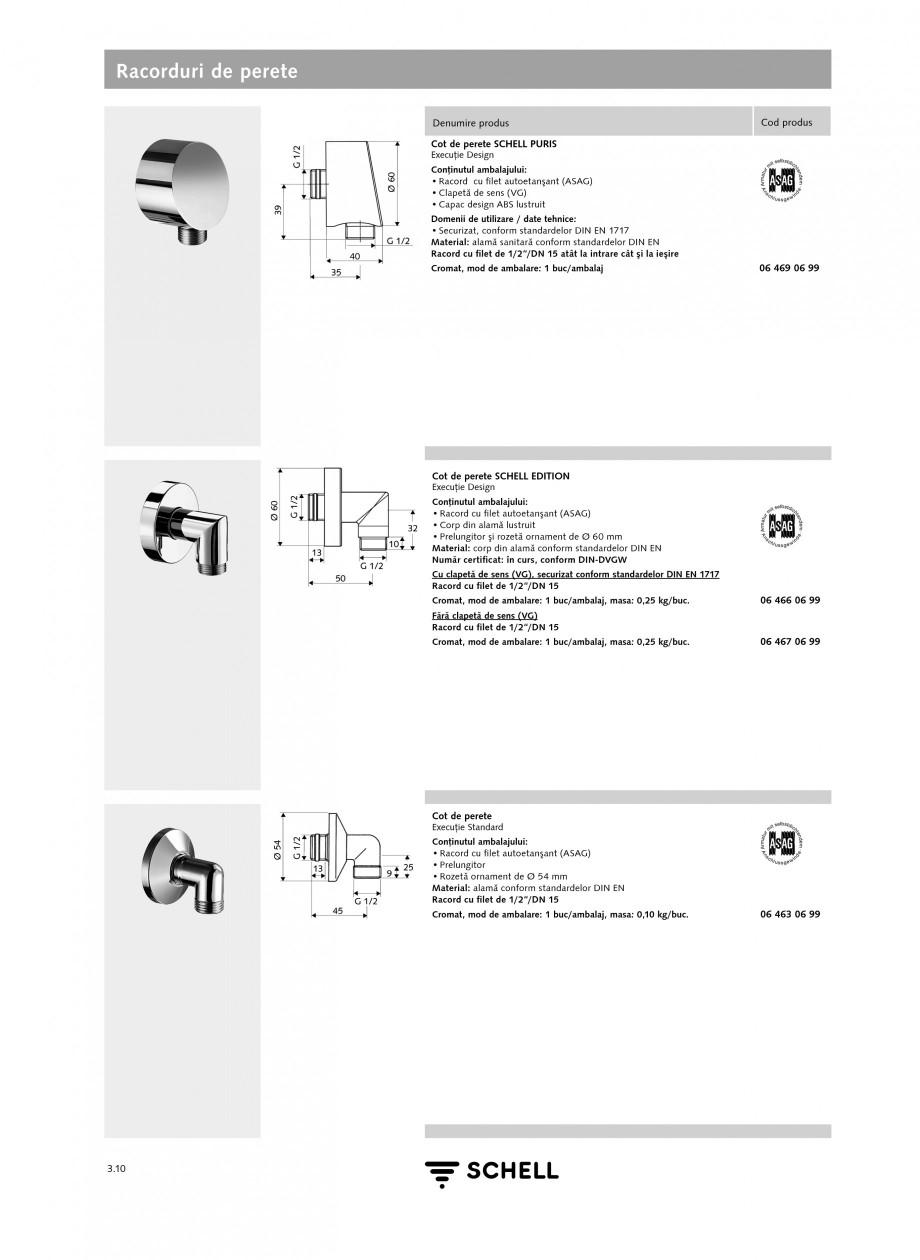 Pagina 1 - Caracteristici tehnice SCHELL Racorduri de perete Fisa tehnica Romana Racorduri de perete...