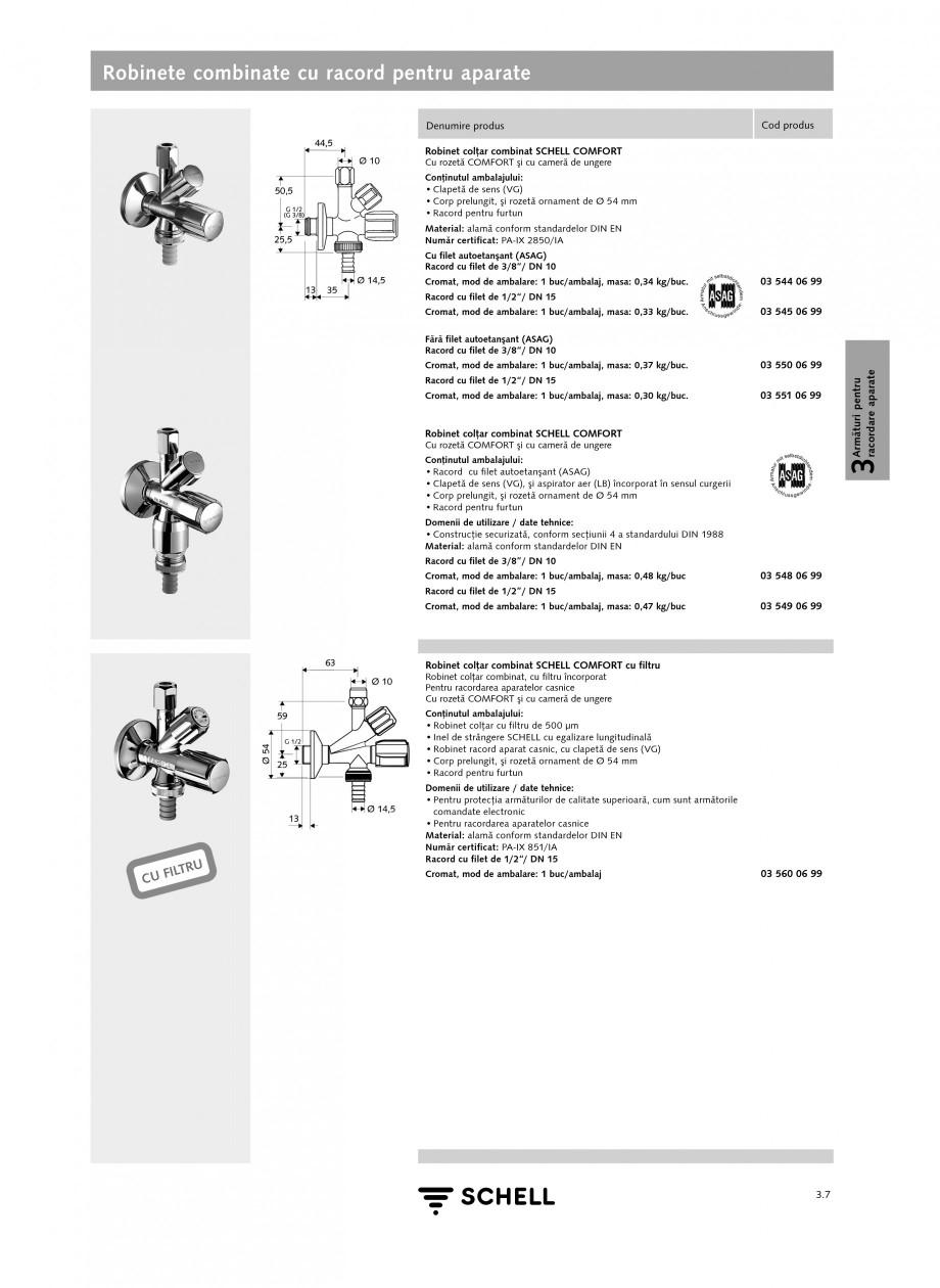 Pagina 1 - Caracteristici tehnice SCHELL Robinete combinate cu racord pentru aparate Fisa tehnica...