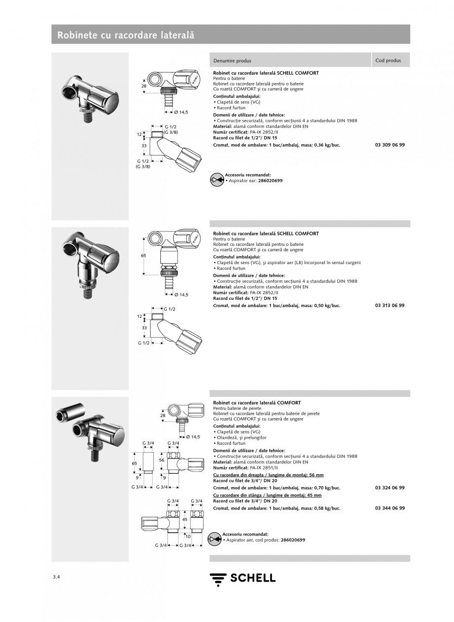 Pagina 1 - Caracteristici tehnice SCHELL Robinete cu racordare laterala Fisa tehnica Romana Robinete...