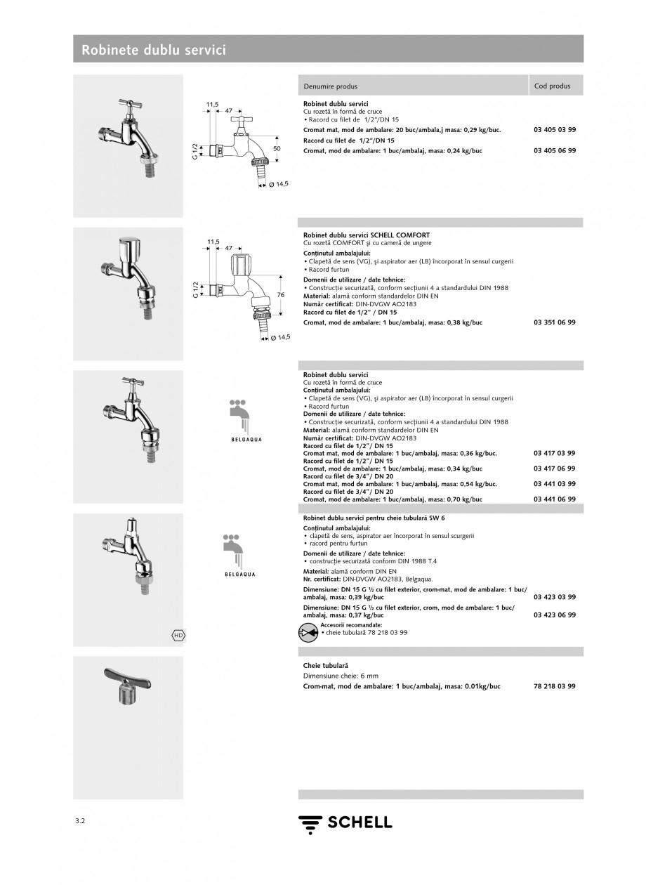 Pagina 1 - Caracteristici tehnice SCHELL Robinete dublu servici Fisa tehnica Romana Robinete dublu...