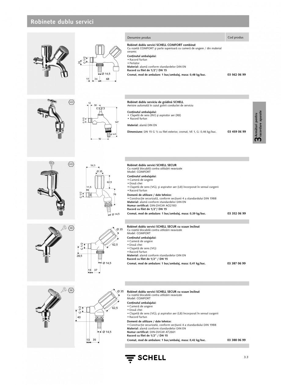 Pagina 2 - Caracteristici tehnice SCHELL Robinete dublu servici Fisa tehnica Romana d furtun Domenii...