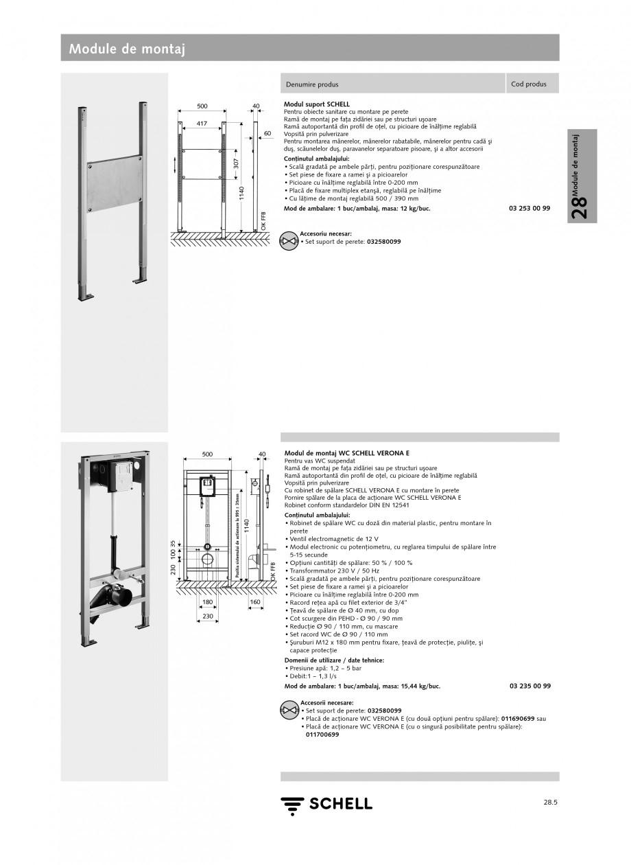 Pagina 4 - Caracteristici tehnice SCHELL Module de montaj Fisa tehnica Romana Modul de montaj lavoar...