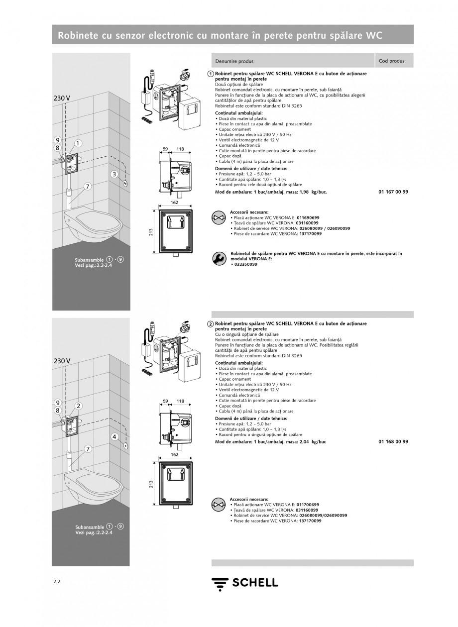 Pagina 1 - Caracteristici tehnice SCHELL Robinete cu senzor electronic cu montare in perete pentru...