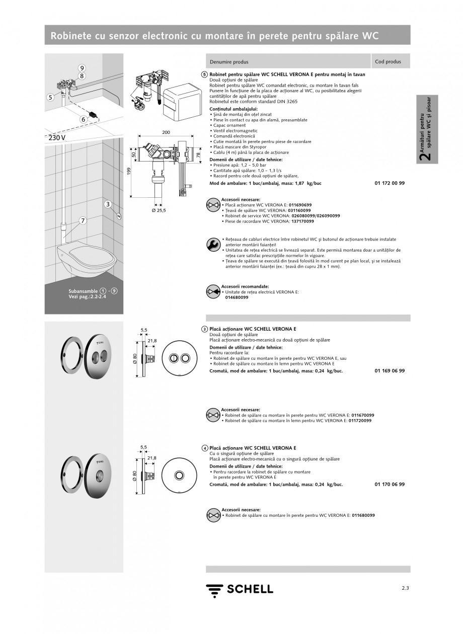 Pagina 2 - Caracteristici tehnice SCHELL Robinete cu senzor electronic cu montare in perete pentru...