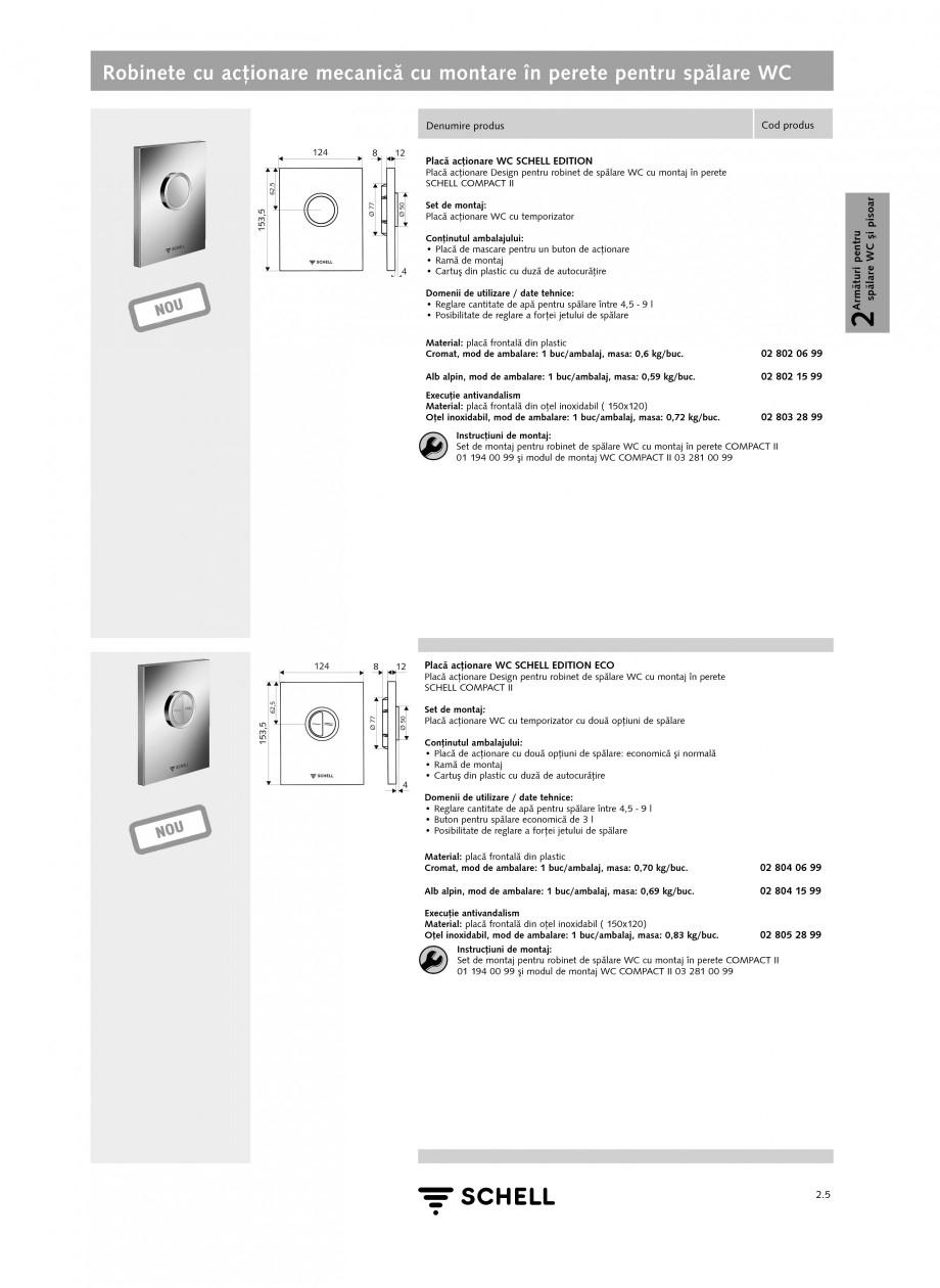 Pagina 1 - Caracteristici tehnice SCHELL Robinete cu actionare mecanica cu montare in perete pentru ...