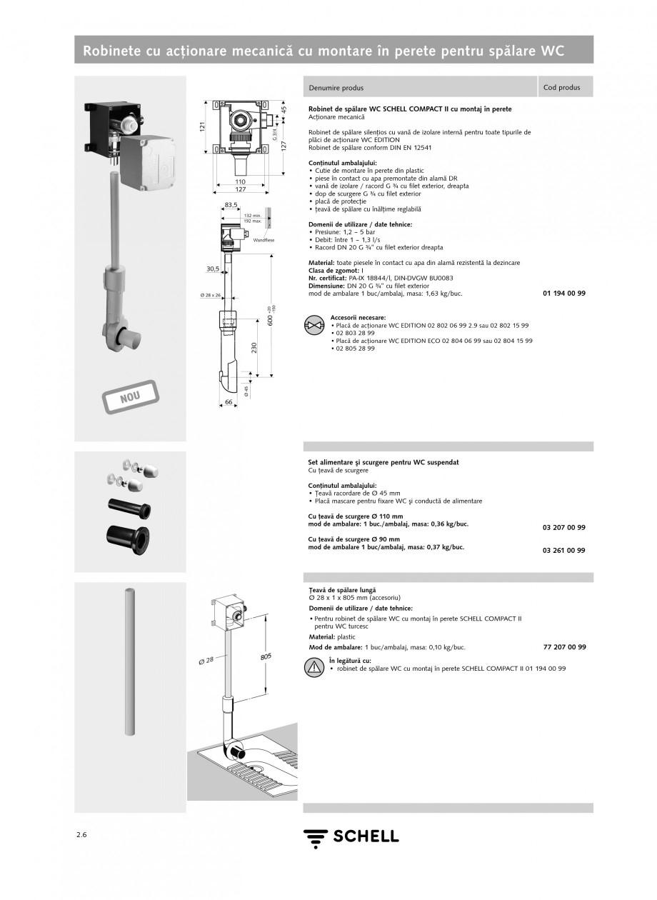 Pagina 2 - Caracteristici tehnice SCHELL Robinete cu actionare mecanica cu montare in perete pentru ...