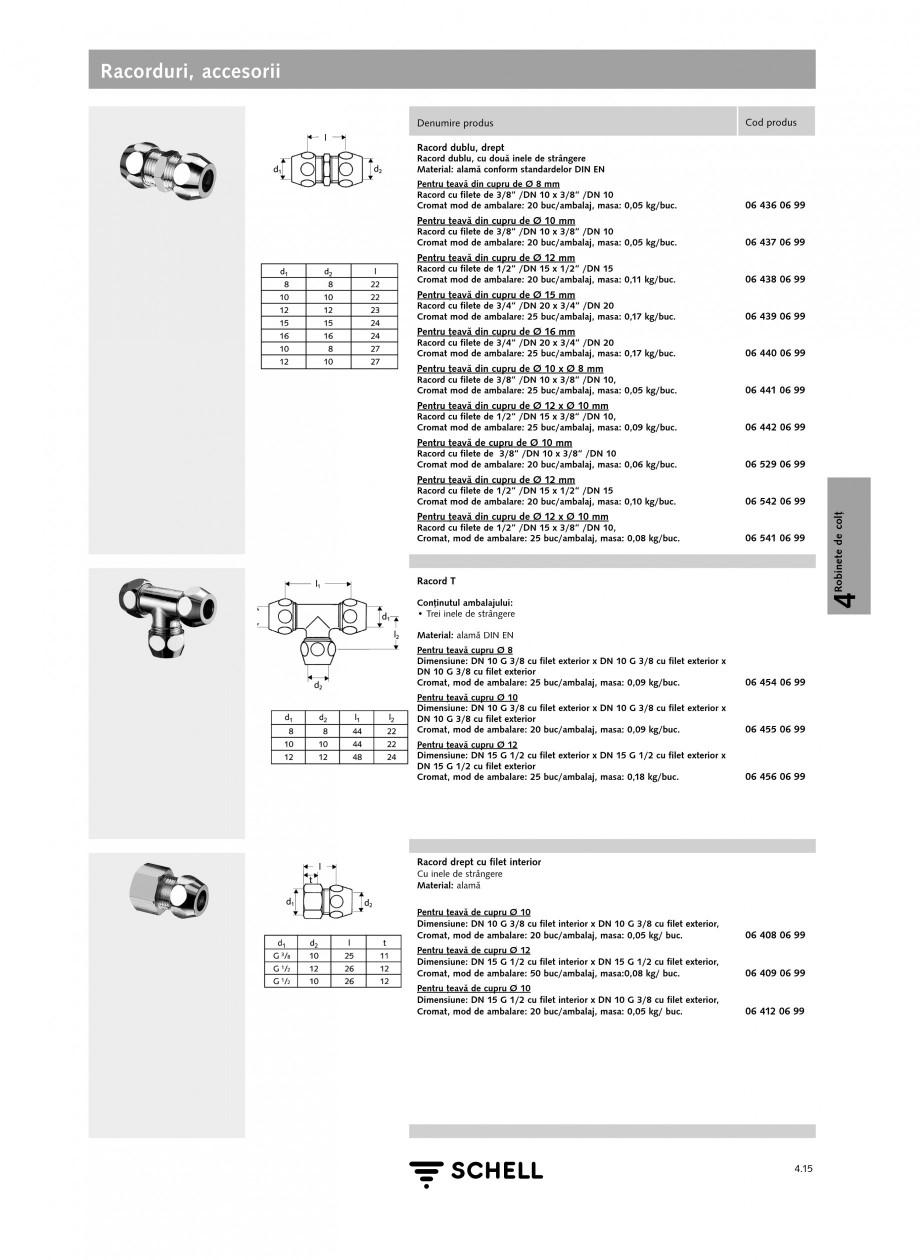 Pagina 1 - Caracteristici tehnice SCHELL Racorduri, accesorii Fisa tehnica Romana Racorduri,...