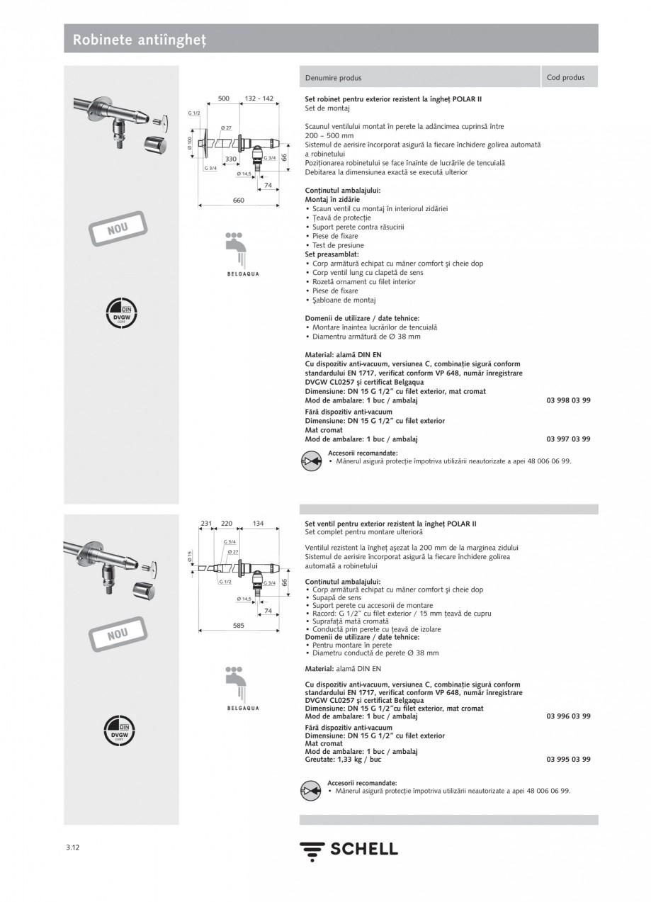 Pagina 1 - Caracteristici tehnice SCHELL Robinete antiinghet Fisa tehnica Romana Robinete...