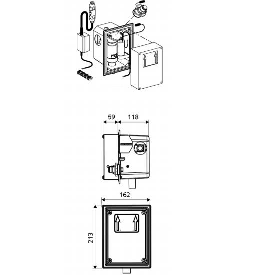 Robinete cu senzor electronic cu montare in perete pentru spalare WC SCHELL - Poza 1