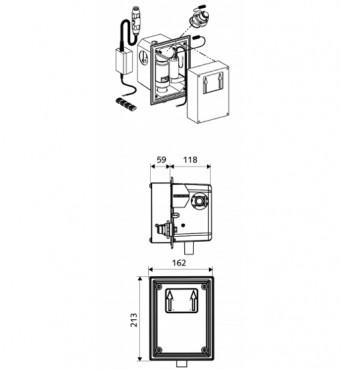 Prezentare produs Robinete cu senzor electronic cu montare in perete pentru spalare WC SCHELL - Poza 2