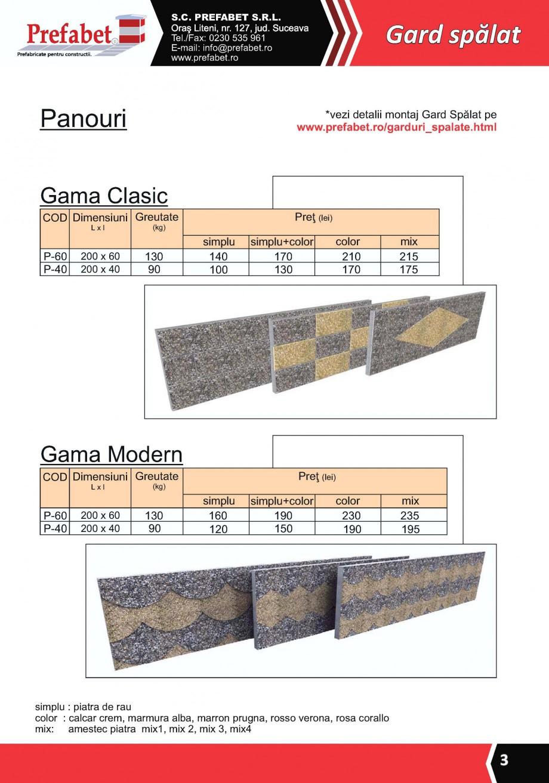 Pagina 2 - Gard modular Prefabet Spalat Fisa tehnica Romana