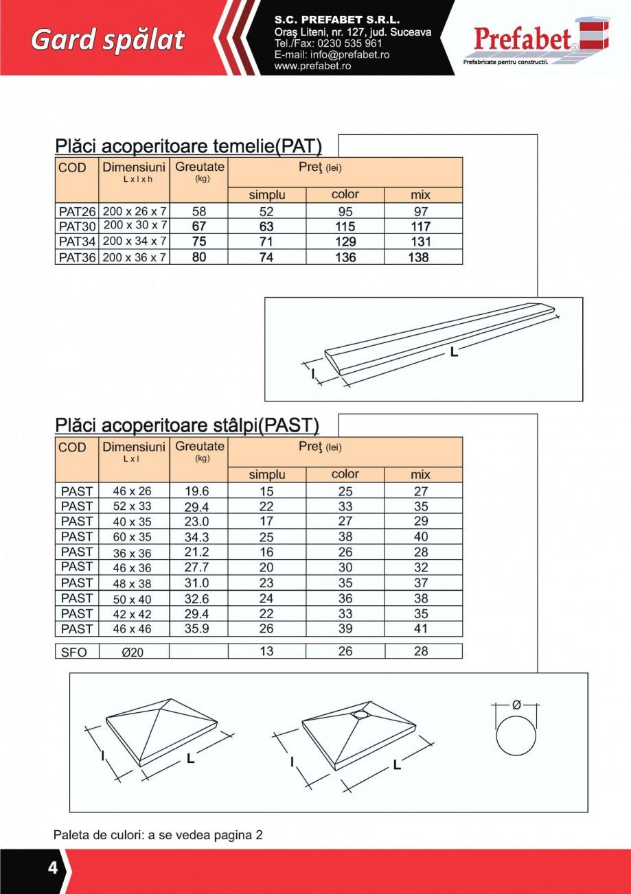 Pagina 3 - Gard modular Prefabet Spalat Fisa tehnica Romana