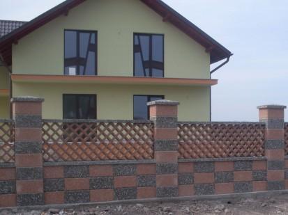 Gard spalat marron prugna/gri panou sah Spalat Gard modular din beton