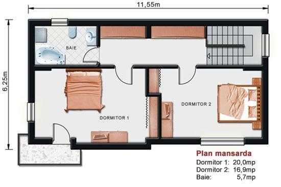 Lucrari de referinta proiect casa cu mansarda noiconstruim for Proiect casa 2 camere living baie si bucatarie