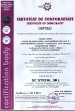 Certificat perete cortina STRIAL