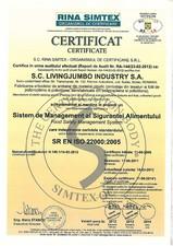 Certificat ISO 22000:2005 LIVINGJUMBO