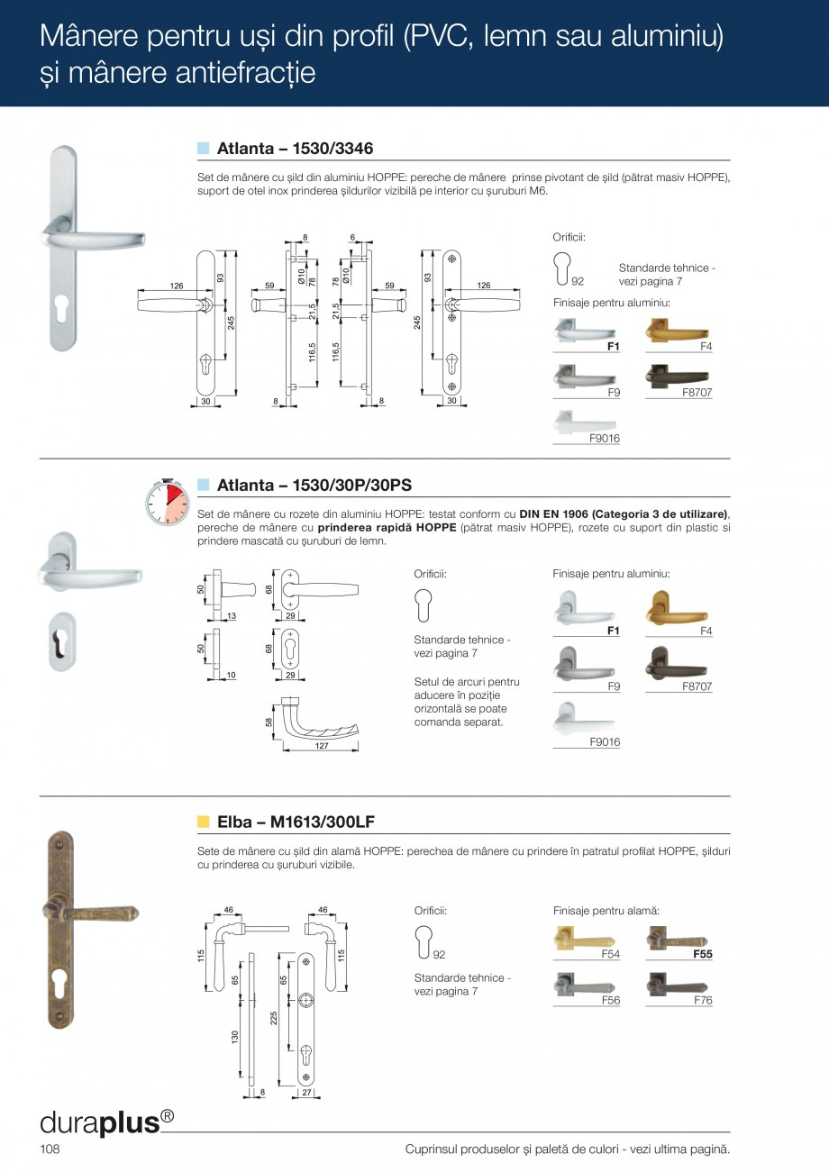 Pagina 108 - Manere pentru usi si fereastre - Gama de produse de baza 2013 HOPPE Acapulco M1558, Las...