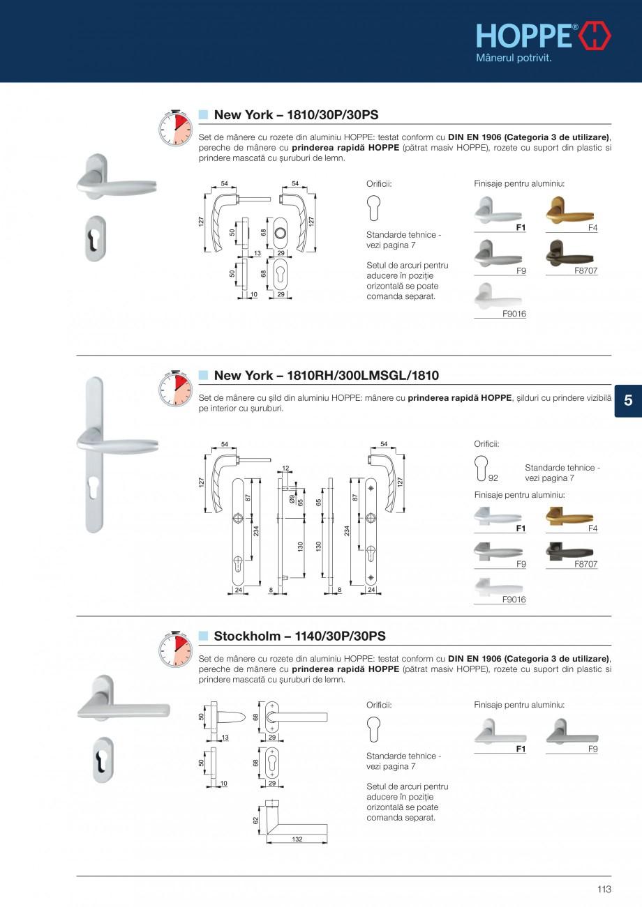 Pagina 113 - Manere pentru usi si fereastre - Gama de produse de baza 2013 HOPPE Acapulco M1558, Las...