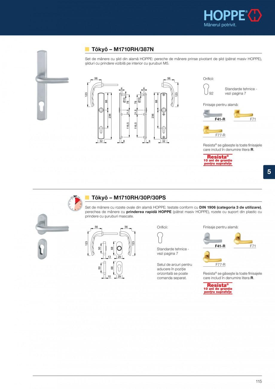 Pagina 115 - Manere pentru usi si fereastre - Gama de produse de baza 2013 HOPPE Acapulco M1558, Las...