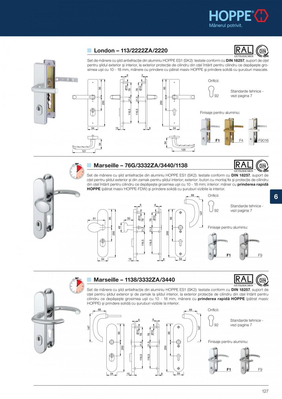 Pagina 127 - Manere pentru usi si fereastre - Gama de produse de baza 2013 HOPPE Acapulco M1558, Las...
