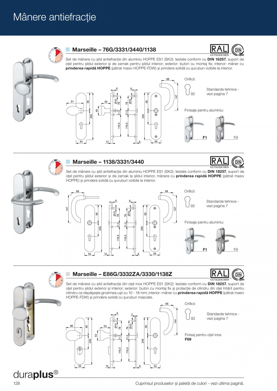 Pagina 128 - Manere pentru usi si fereastre - Gama de produse de baza 2013 HOPPE Acapulco M1558, Las...