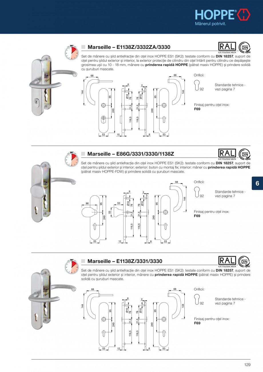 Pagina 129 - Manere pentru usi si fereastre - Gama de produse de baza 2013 HOPPE Acapulco M1558, Las...