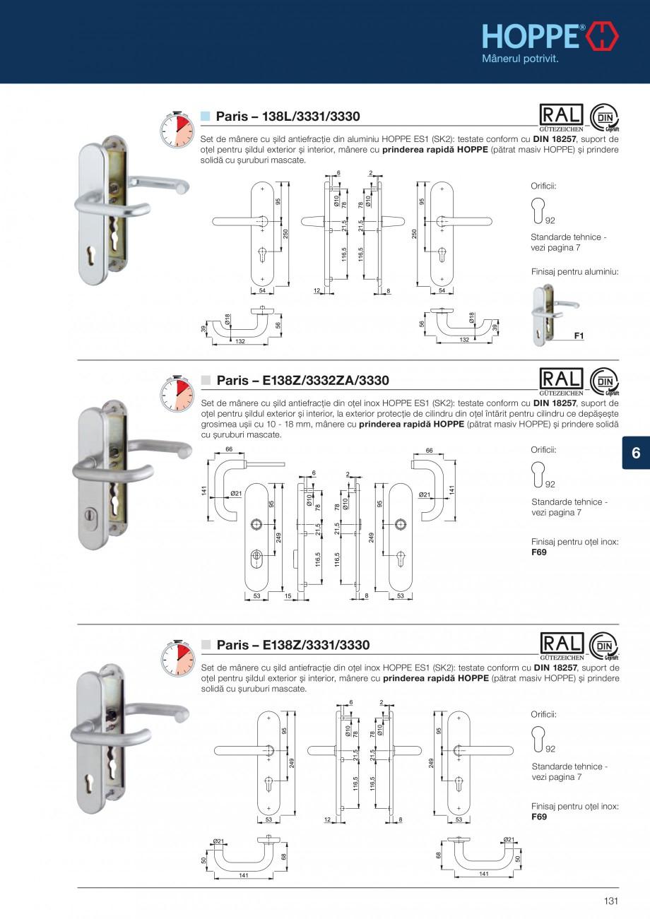 Pagina 131 - Manere pentru usi si fereastre - Gama de produse de baza 2013 HOPPE Acapulco M1558, Las...