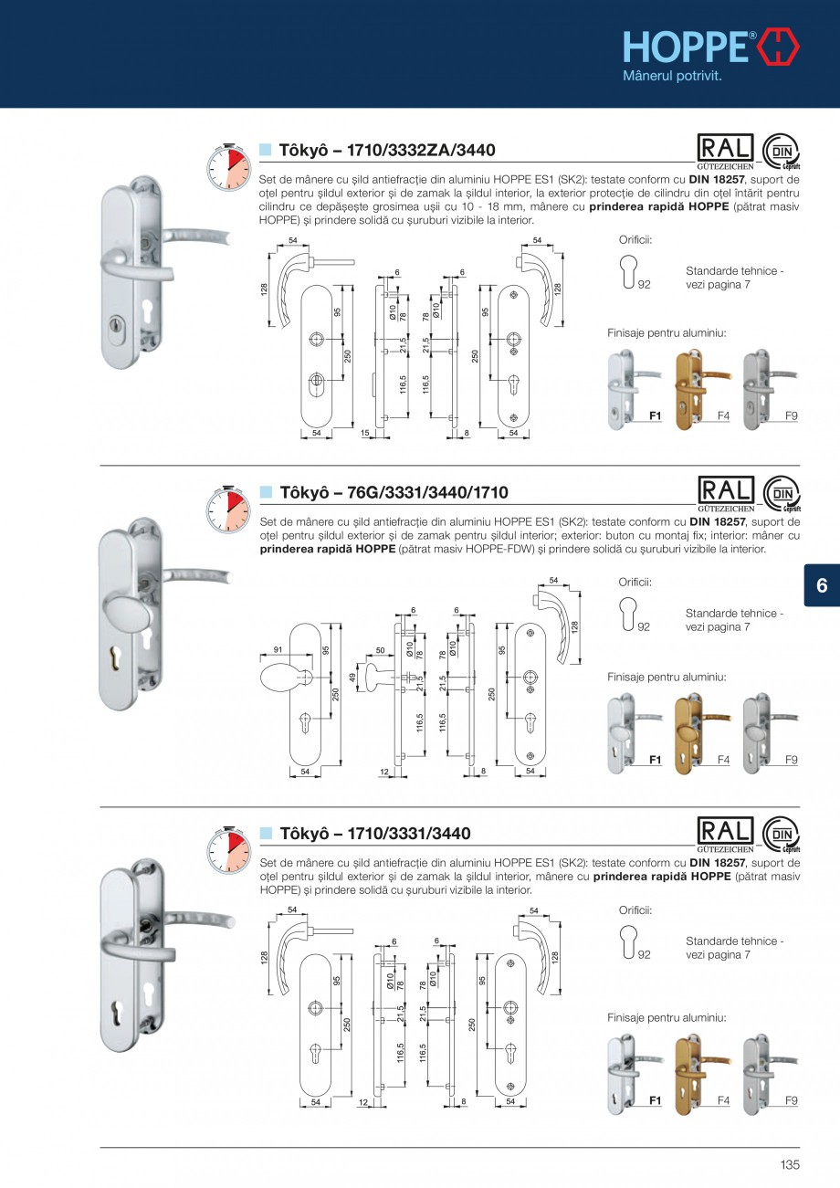 Pagina 135 - Manere pentru usi si fereastre - Gama de produse de baza 2013 HOPPE Acapulco M1558, Las...