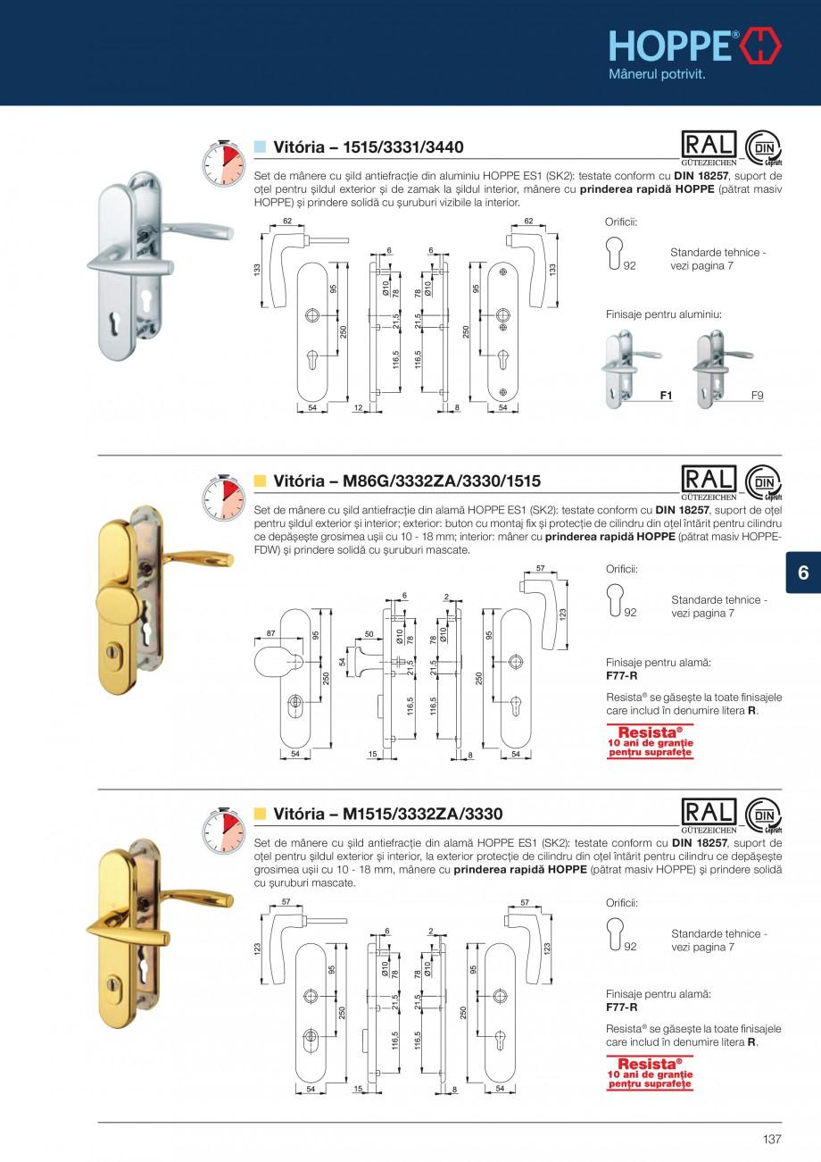 Pagina 137 - Manere pentru usi si fereastre - Gama de produse de baza 2013 HOPPE Acapulco M1558, Las...