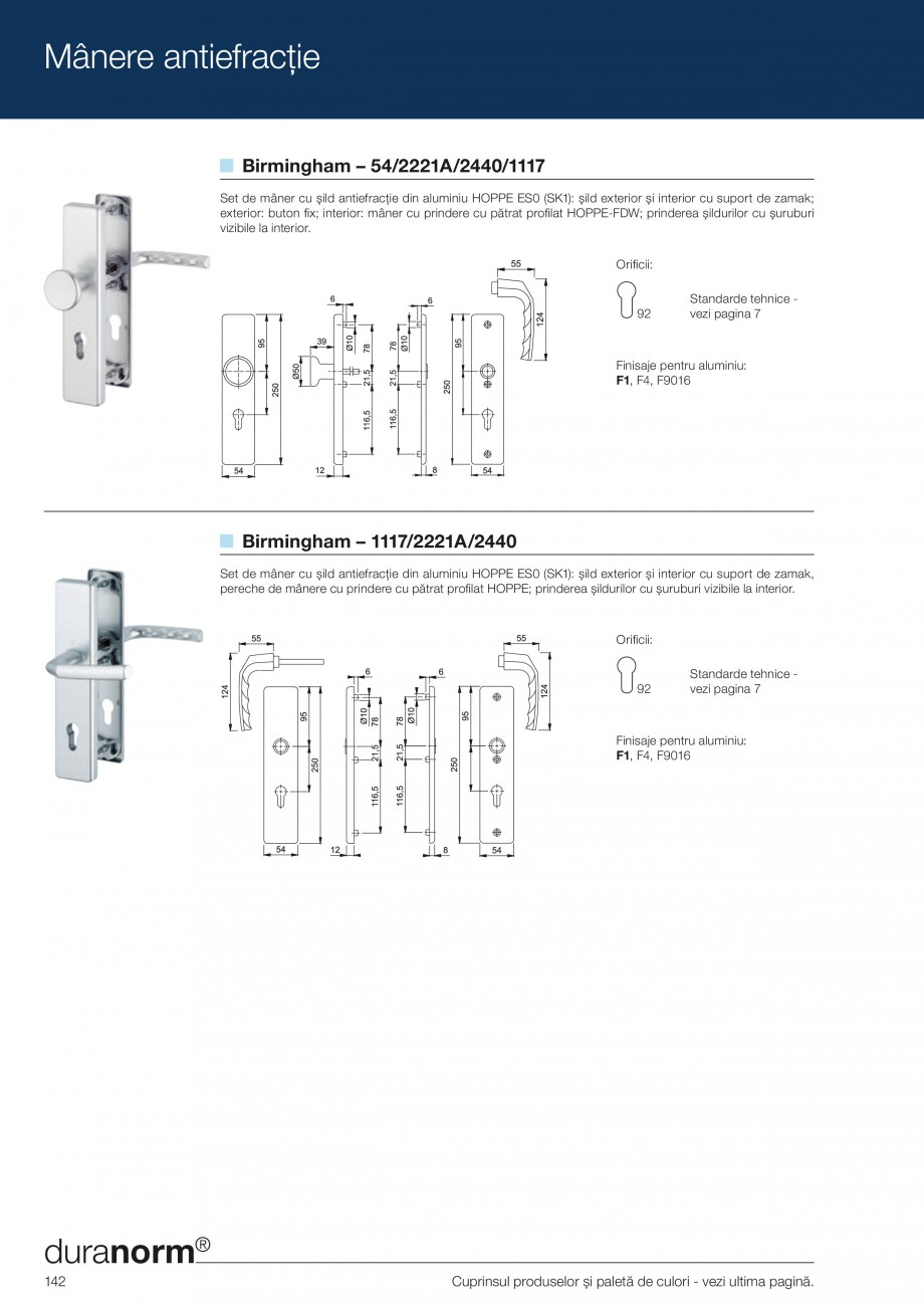 Pagina 142 - Manere pentru usi si fereastre - Gama de produse de baza 2013 HOPPE Acapulco M1558, Las...