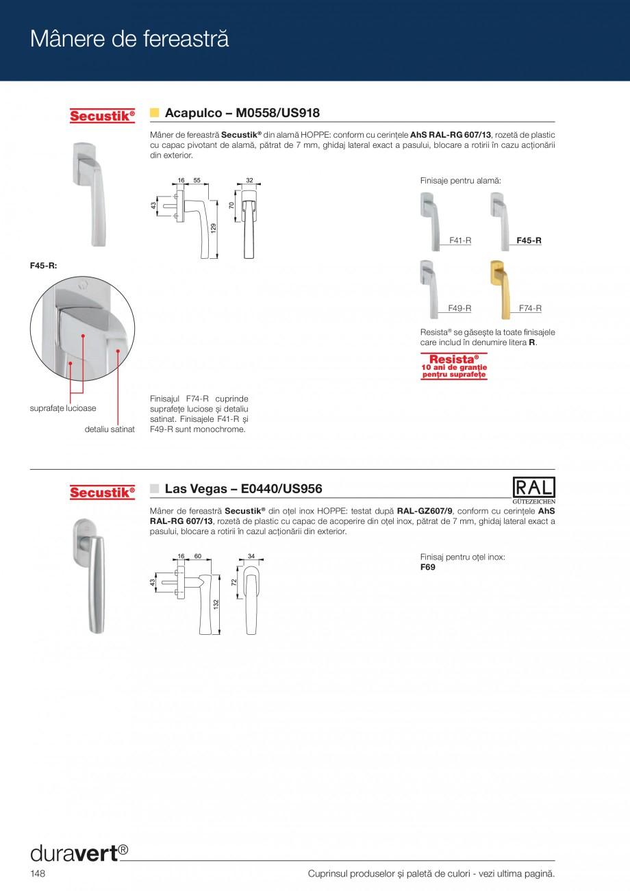 Pagina 148 - Manere pentru usi si fereastre - Gama de produse de baza 2013 HOPPE Acapulco M1558, Las...
