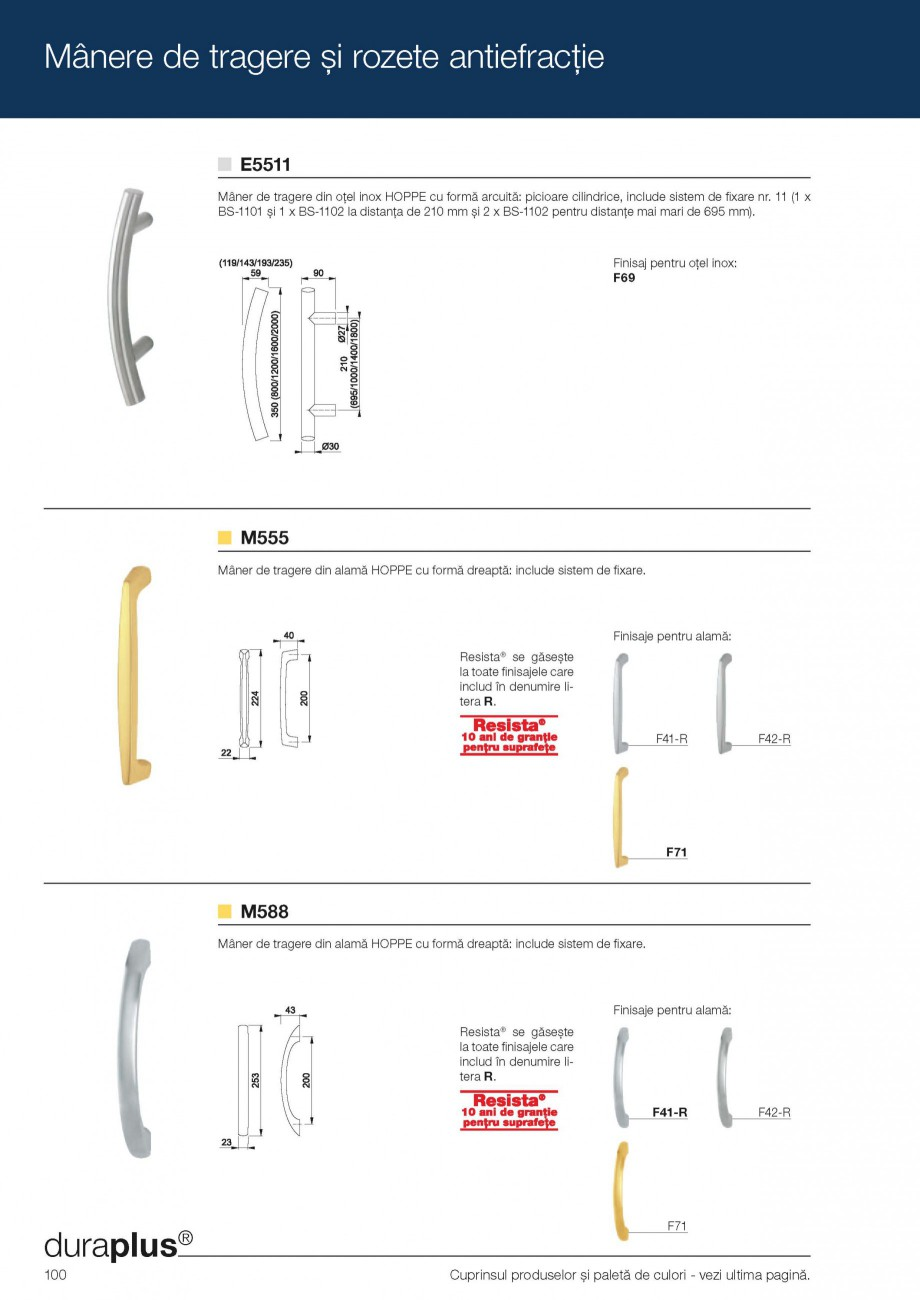 Pagina 12 - Manere de tragere si rozete antiefractie HOPPE Monte Carlo M550LG, Singapore M476/15,...