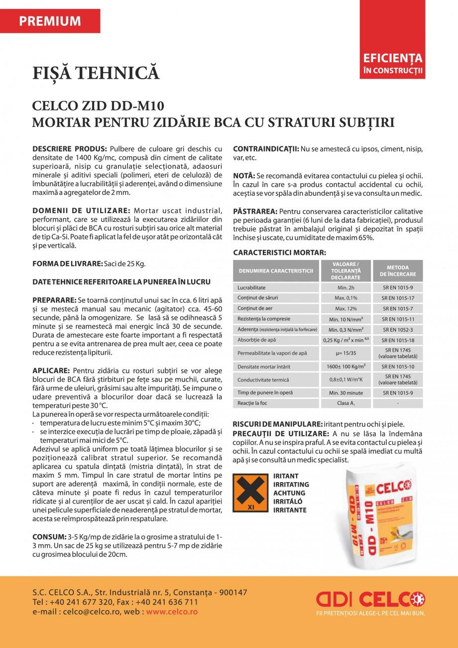 Pagina 1 - Mortar pentru zidarie BCA cu straturi subtiri CELCO ZID DD-M10 Fisa tehnica Romana Min....