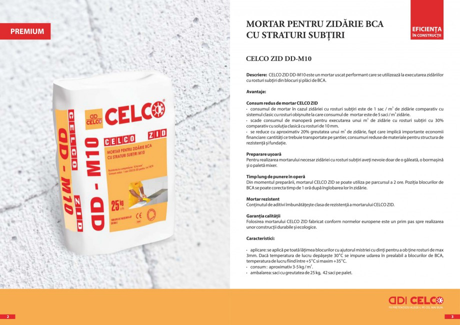 Pagina 2 - Pliant - Mortar pentru zidarie BCA cu straturi subtiri CELCO ZID DD-M5, ZID DD-M10...