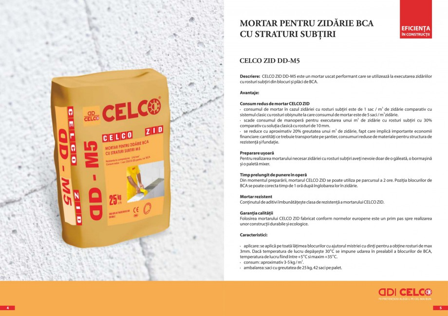 Pagina 3 - Pliant - Mortar pentru zidarie BCA cu straturi subtiri CELCO ZID DD-M5, ZID DD-M10...