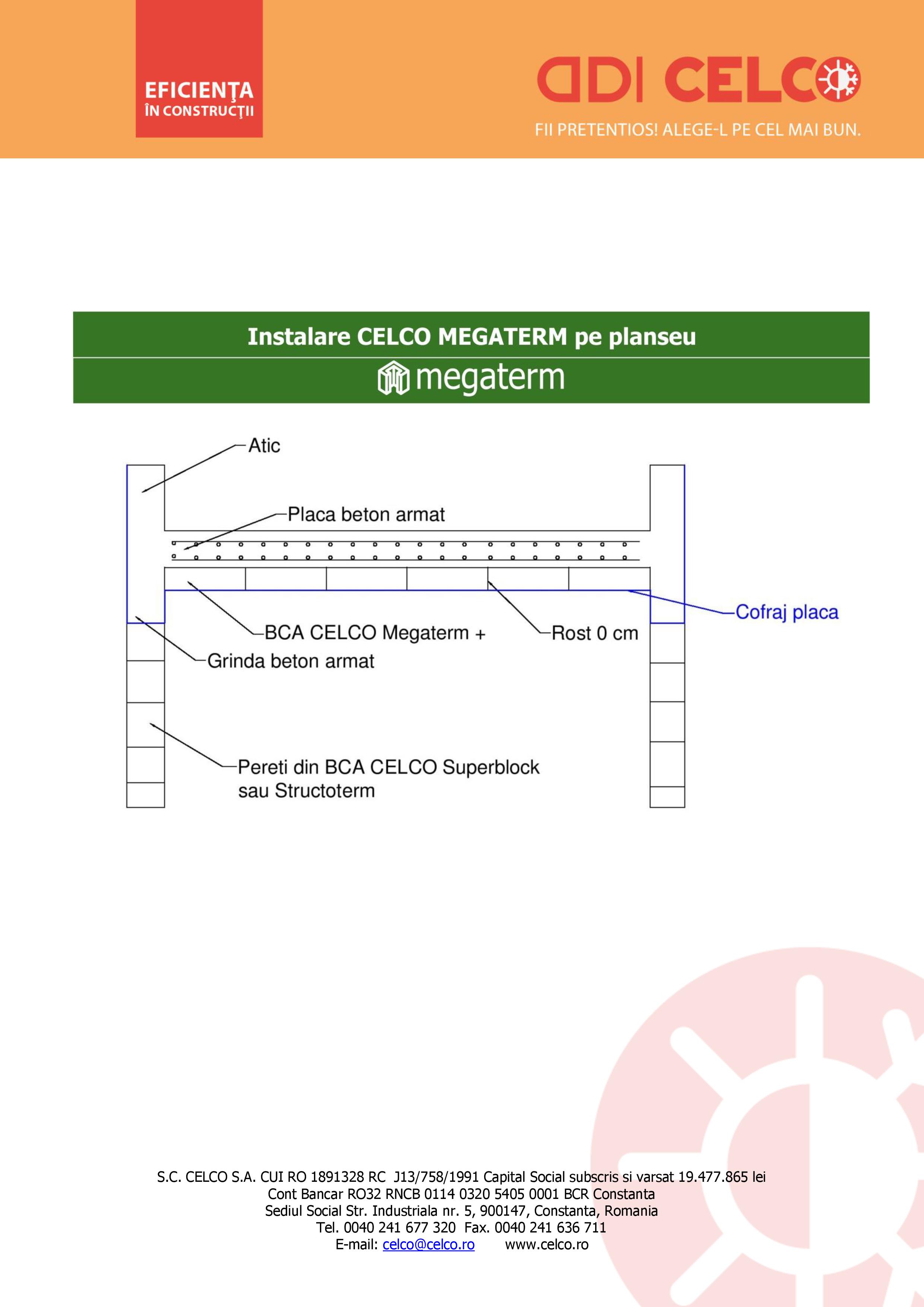 Pagina 1 - CAD-PDF Instalare CELCO MEGATERM pe planseu CELCO Detaliu de montaj