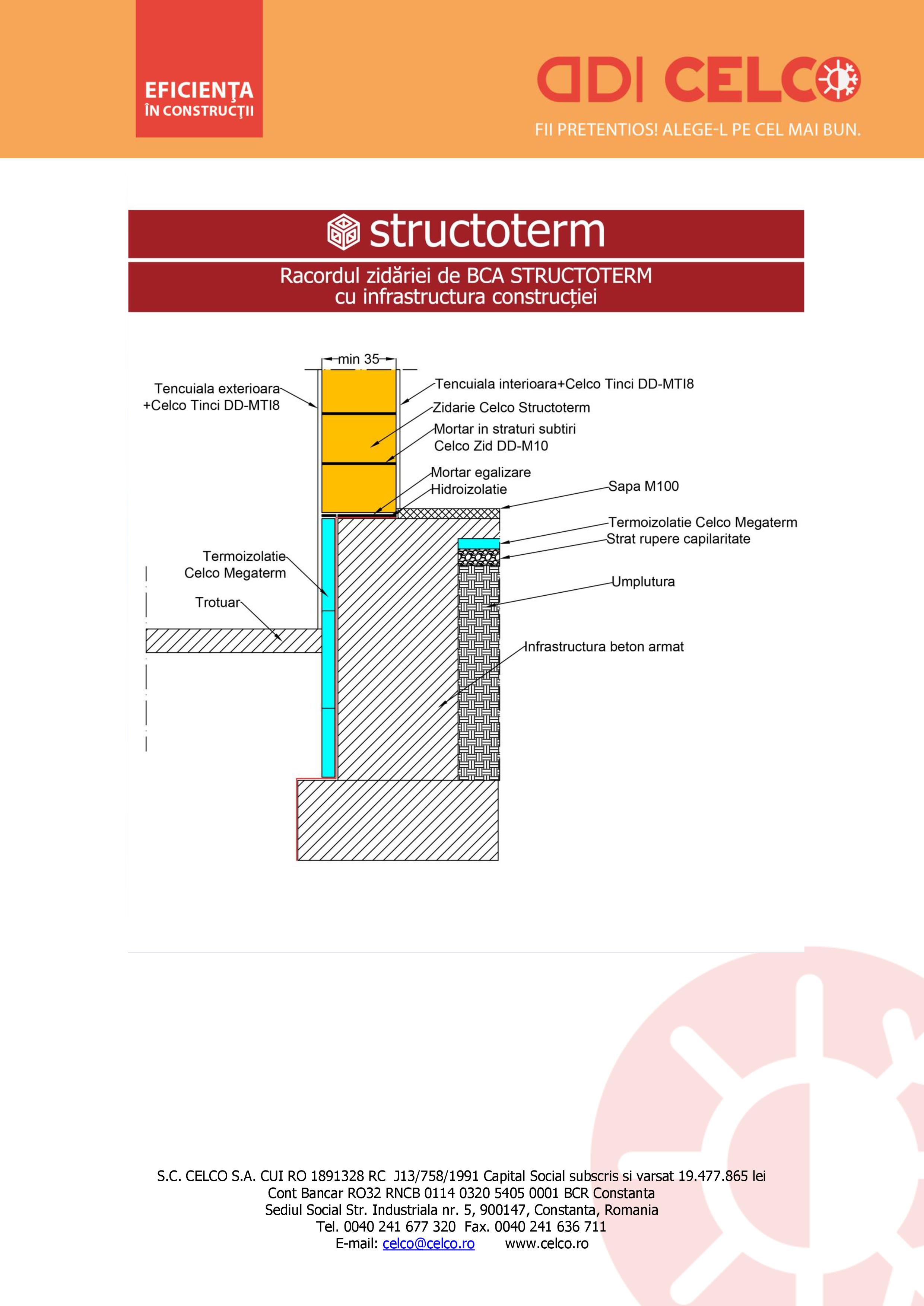 Pagina 1 - CAD-PDF Racordul zidariei de BCA STRUCTOTERM cu infrastructura constructiei CELCO Detaliu...